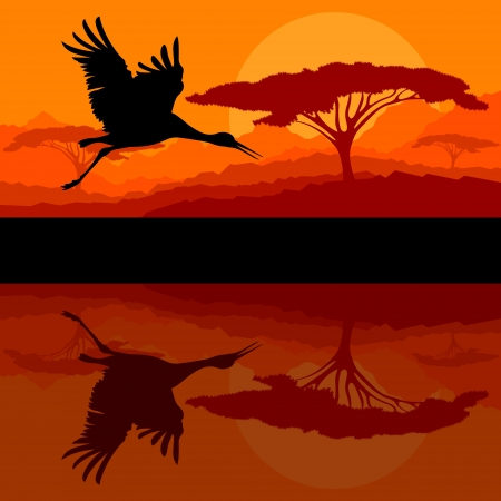 Crane flying in wild mountain nature landscape background Stock Vector - 16289229