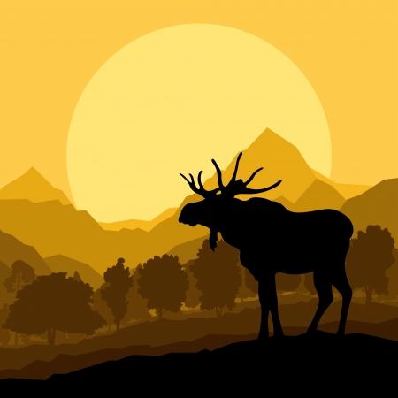 Deer in wild nature forest landscape background illustration vector Stock Vector - 16289097