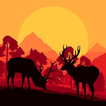 gun silhouette: Deer in wild nature forest landscape background illustration vector