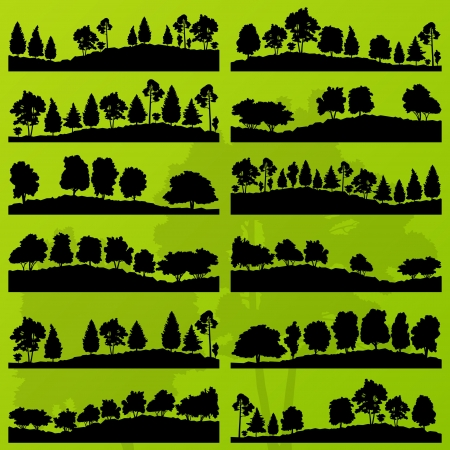 Forest trees silhouettes landscape illustration collection background vector Stock Vector - 16289216