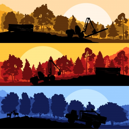Forest cut down landscape with wood and heavy equipment track Stock Vector - 16289150