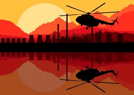 Industrial oil refinery factory landscape background with army helicopter illustration vector Stock Vector - 16289205