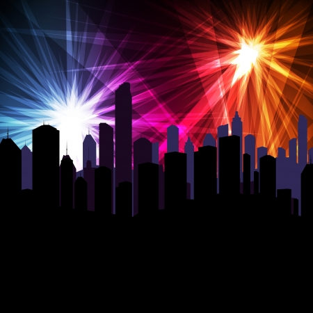 Salute: Firework over city vector background for poster Illustration