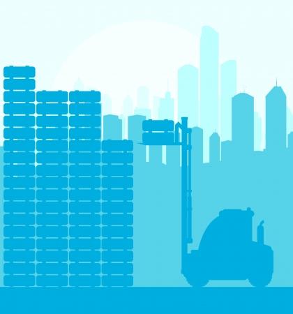 car loader: Fork lift truck with load background vector for poster
