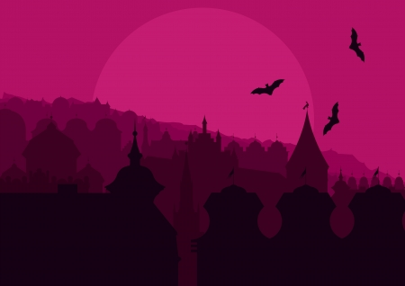 Halloween night old scary city town landscape with flying bats and moon illustration background vector Vector