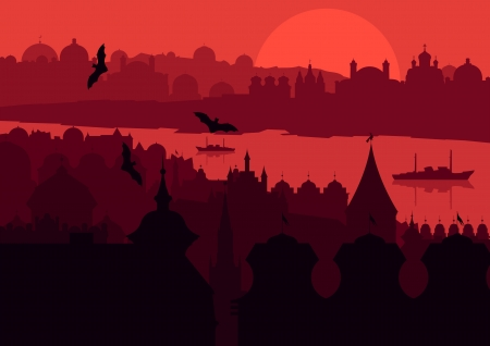 Halloween night old scary city town landscape with flying bats and moon illustration background vector Stock Vector - 16289091