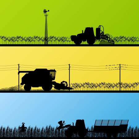 agriculture machinery: Agriculture tractors and harvesters in cultivated country fields landscape background illustration vector