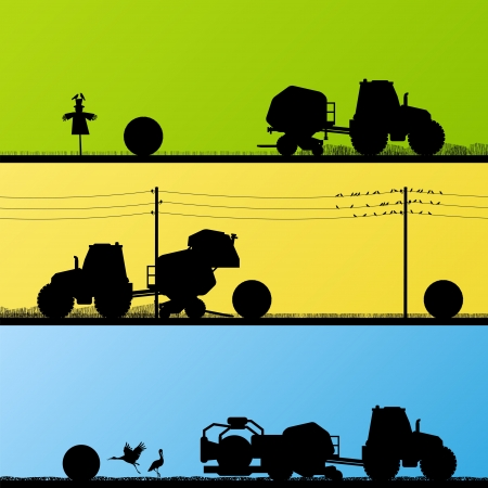 hay bales: Agriculture tractors making hay bales in cultivated country fields landscape background illustration vector