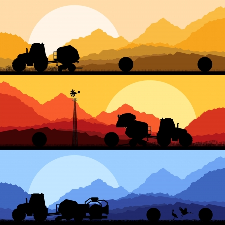 hauling tractor: Agriculture tractors making hay bales in cultivated country fields landscape background illustration vector