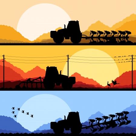 Tracteurs agricoles labourer la terre dans le pays champs illustration vectorielle fond de paysage cultivé Vecteurs
