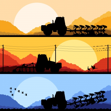 tillage: Tractores agr�colas arar la tierra cultivada en el pa�s de campos vector paisaje ilustraci�n de fondo Vectores