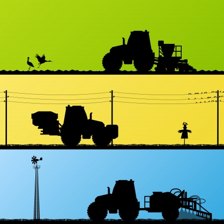 Landbouw tractoren zaaien gewassen, teelt en spuiten in gecultiveerde land gebieden landschap achtergrond illustratie vector