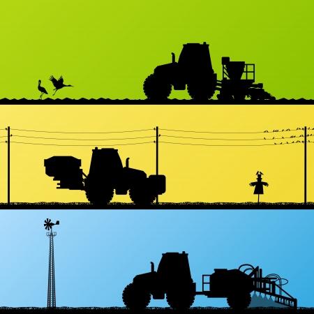 Rolnictwo Siew upraw traktory, kultywowanie i opryskiwanie pól uprawnych krajobrazu kraju tle wektora ilustracji