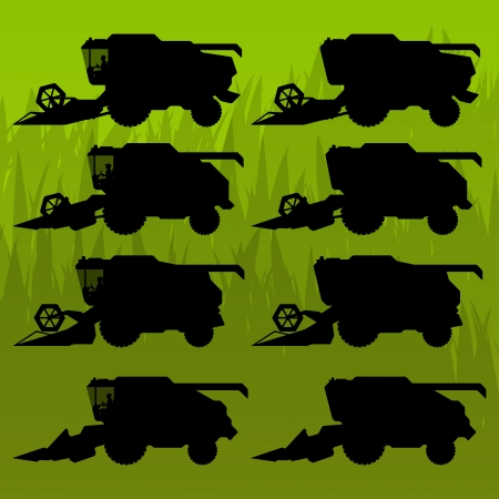 combine: Combine harvesting crop wheat, barley, rye, oats and corn grain fields in background vector silhouette illustration