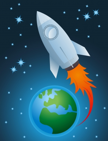 going out: Rocket going out of atmosphere and earth globe vector background