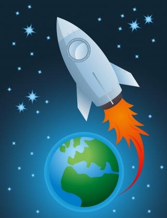 going out: Rocket uscire di atmosfera e della terra globo vettore sfondo