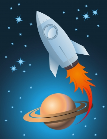 rocket ship: Rocket and Saturn vector background with stars