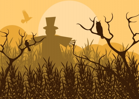 tree canopy: Halloween background vector with owl and pumpkin guy in the forest Illustration