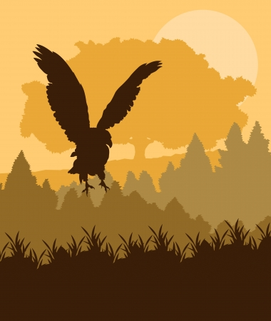 winter tree silhouette: Swooping eagle attacking in forest vector background