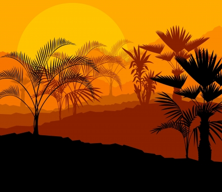 sand art: Tropical palm tree background vector for poster