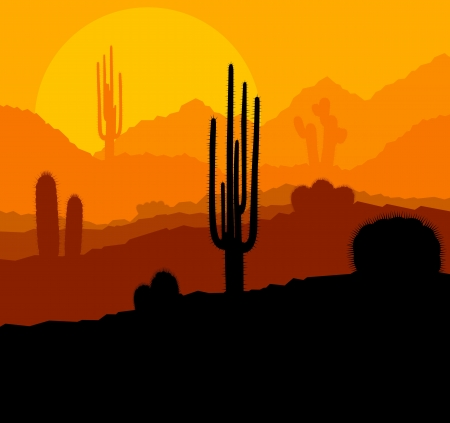 멕시코 사막 일몰 벡터 배경 선인장 식물