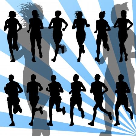 mujer deportista: Los corredores de maratón detallada ilustración vectorial activa colección de siluetas de fondo Vectores