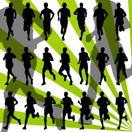 road runner: Marathon runners detailed active illustration silhouettes collection background vector Illustration