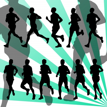 marathon running: Marathon runners detailed active illustration silhouettes collection background vector Illustration