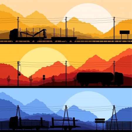 Forestry and oil industry trucks machinery detailed editable silhouettes illustration collection background vector Stock Vector - 16289202