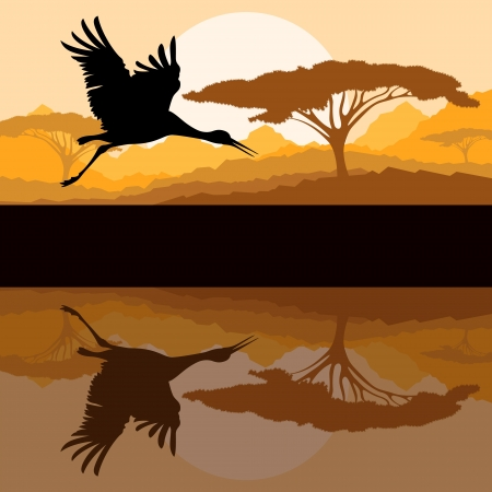 Crane flying in wild mountain nature landscape background Stock Vector - 16289221