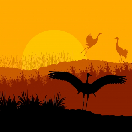 Crane flying in wild mountain nature landscape background Stock Vector - 16289135