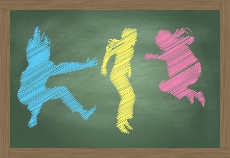 Schultafel mit kreide clipart  Nette Fünf Kinder Und Tafel Lizenzfrei Nutzbare Vektorgrafiken ...