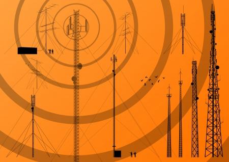 антенны: Телекоммуникации башня, радио, телевидение и мобильный телефон базовая станция фон вектор коллекции Иллюстрация