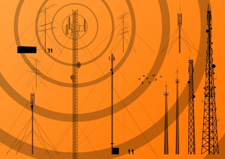 wireless tower: Telecommunications tower, radio, television and mobile phone base station collection vector background