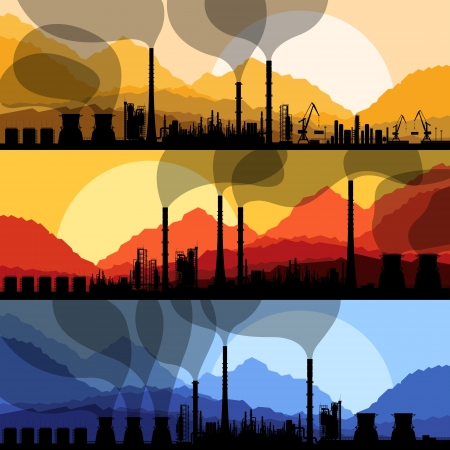 greenhouse gas: Oil refinery station background vector and harbor Illustration