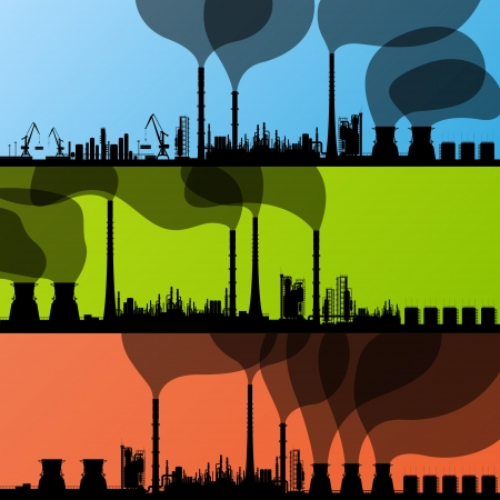 pollution: Oil refinery station background vector and harbor Illustration
