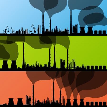 contaminacion aire: Refiner�a de petr�leo estaci�n fondo vector y el puerto