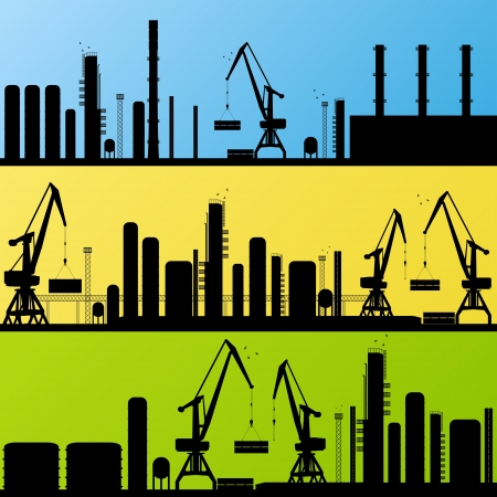 Oil refinery station background vector and harbor Stock Vector - 16289105