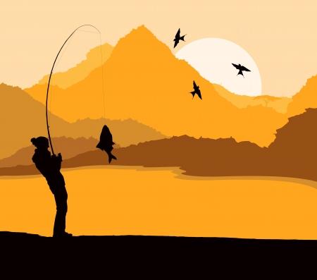 Fisherman landscape vector background for poster Stock Vector - 16289033