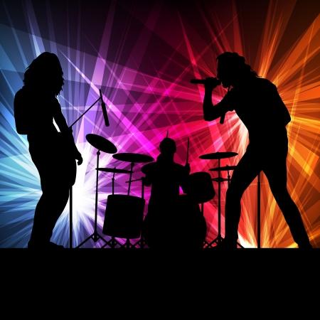 La banda de rock vector de fondo con luces de neón para cartel Ilustración de vector
