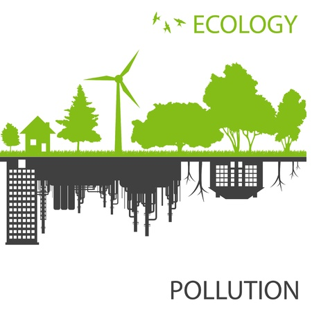 office environment: Green ecology city against pollution vector background concept
