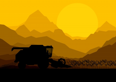 Combine harvesting crop in grain fields background vector illustration Stock Vector - 16289207