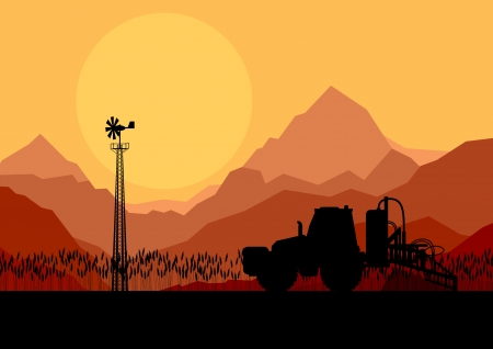 crop sprayer: Tractor spraying a field vector background for poster