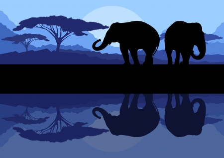 Elephant family in wild Africa mountain nature landscape background illustration vector Stock Vector - 16289230