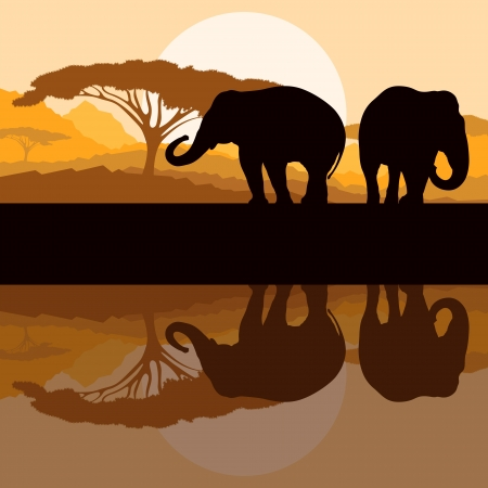 kenya: Elephant family in wild Africa mountain nature landscape background illustration vector Illustration