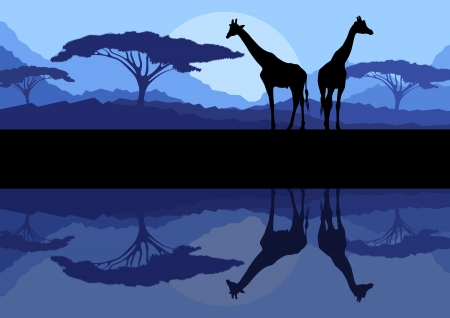 sunset lake: Giraffe family silhouettes in Africa wild nature mountain landscape background illustration vector Illustration