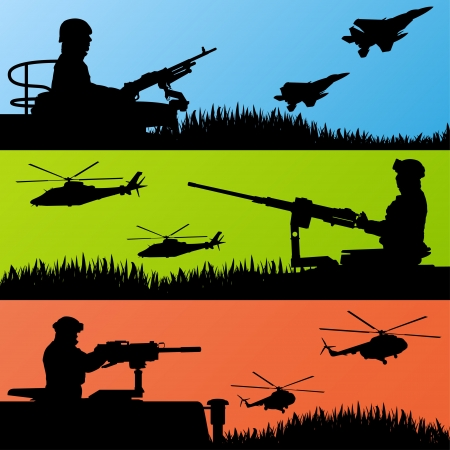 soldier silhouette: Army soldiers, planes, helicopters, guns and transportation Illustration