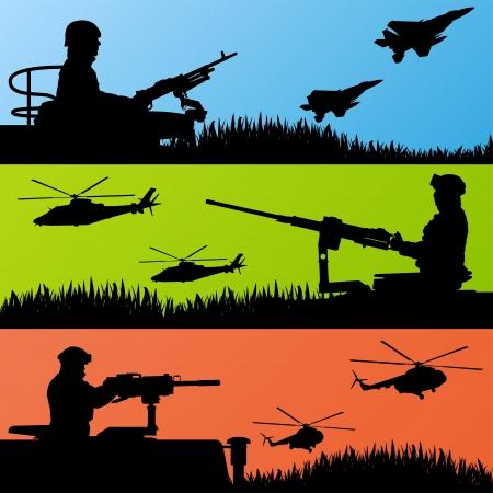 silhouette soldat: Soldats de l'arm�e, d'avions, d'h�licopt�res, d'armes et de transport