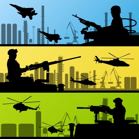 military silhouettes: Army soldiers, planes, helicopters, guns and transportation Illustration