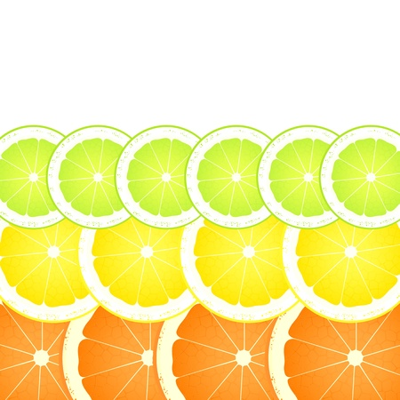 Lemon, lime and orange slices background for poster Stock Vector - 16932743